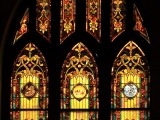 Art glass window in need of restoration at St. Paul AME Church in Raleigh